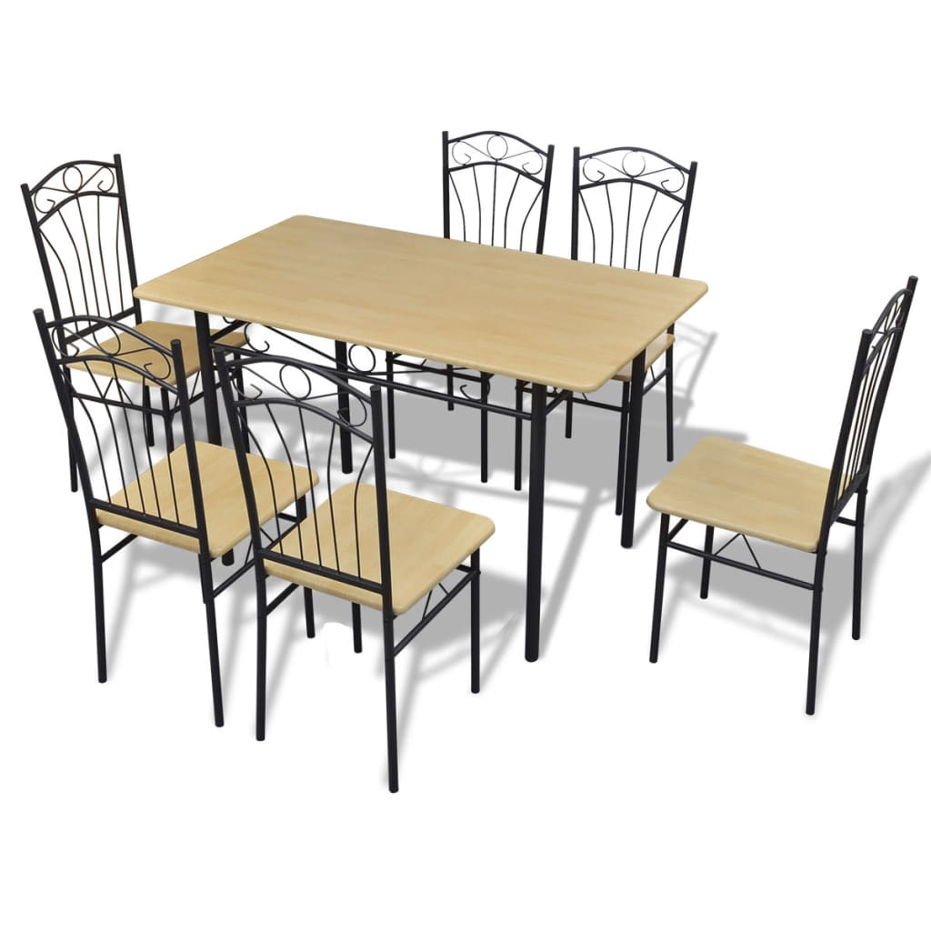 Dining set 1 table with 6 chairs light brown for Dining table set for 6