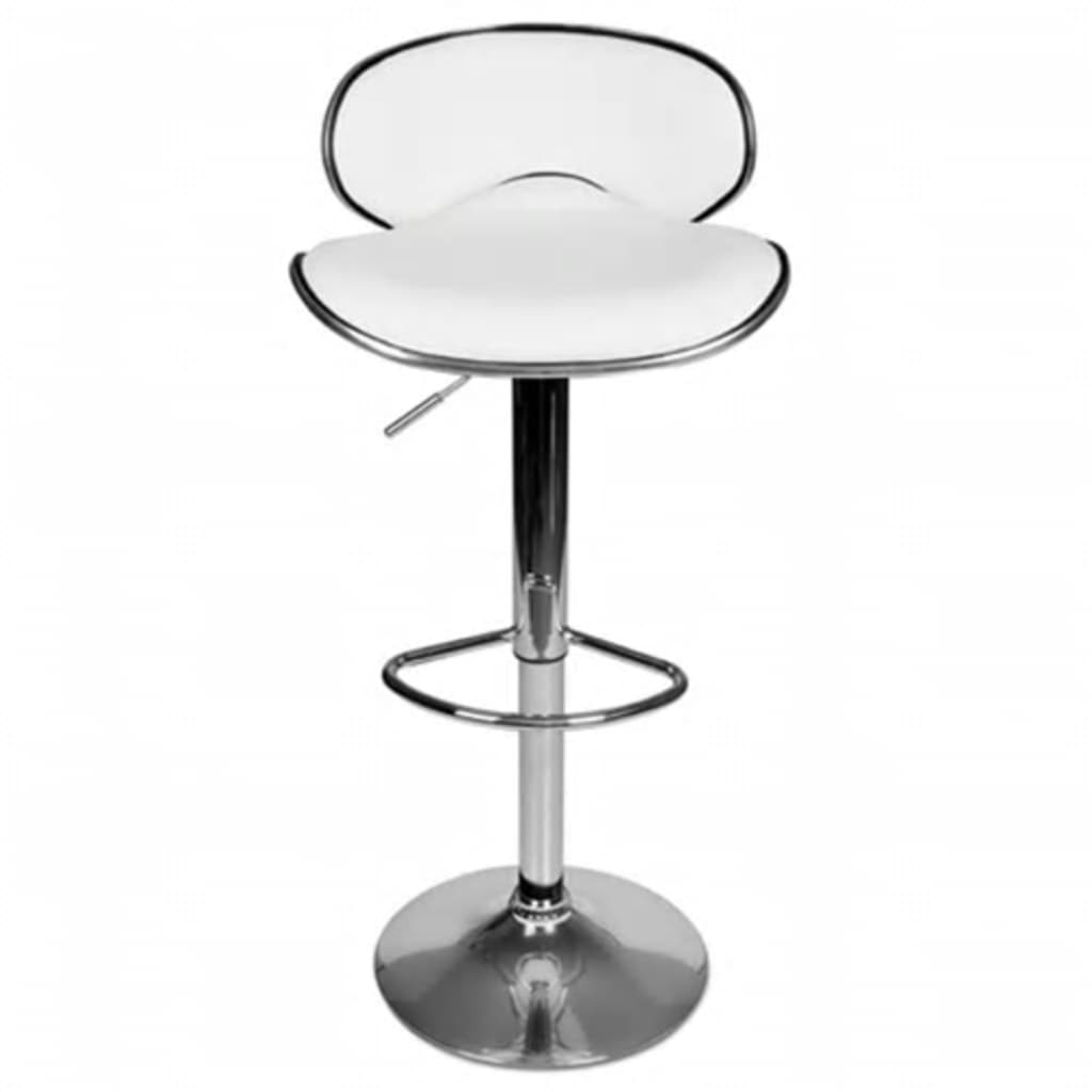 Set Of 2 White Adjustable Height Swivel Bar Stool Vidaxl Com