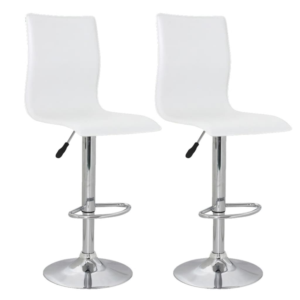 Set of 2 White PVC Bar Stool with High Backrest vidaXLcom : image from www.vidaxl.com size 1024 x 1024 png 242kB