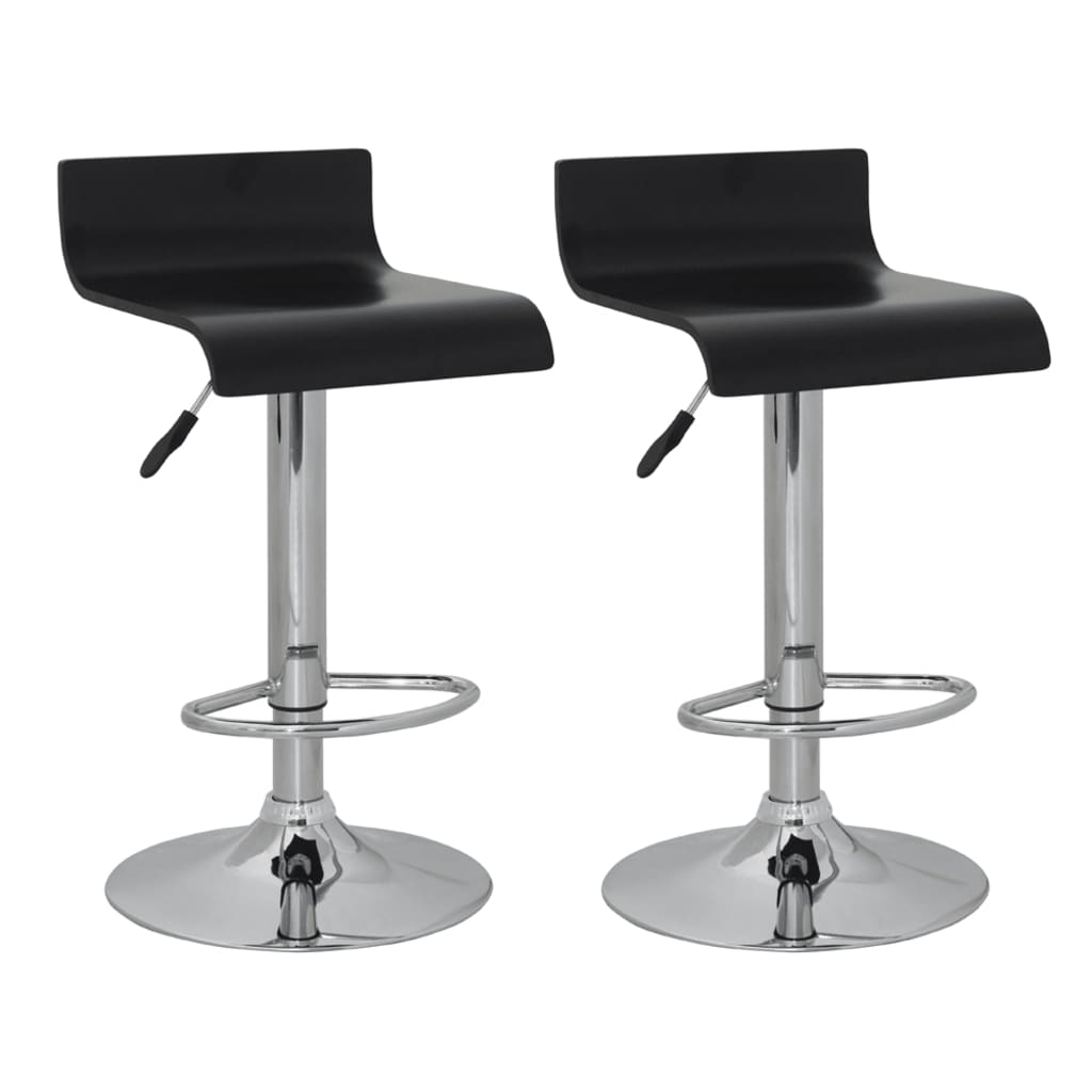 Marvelous photograph of Set of 2 Black Bar Stool Wooden Seat with Low Backrest vidaXL.com with #405A51 color and 1024x1024 pixels
