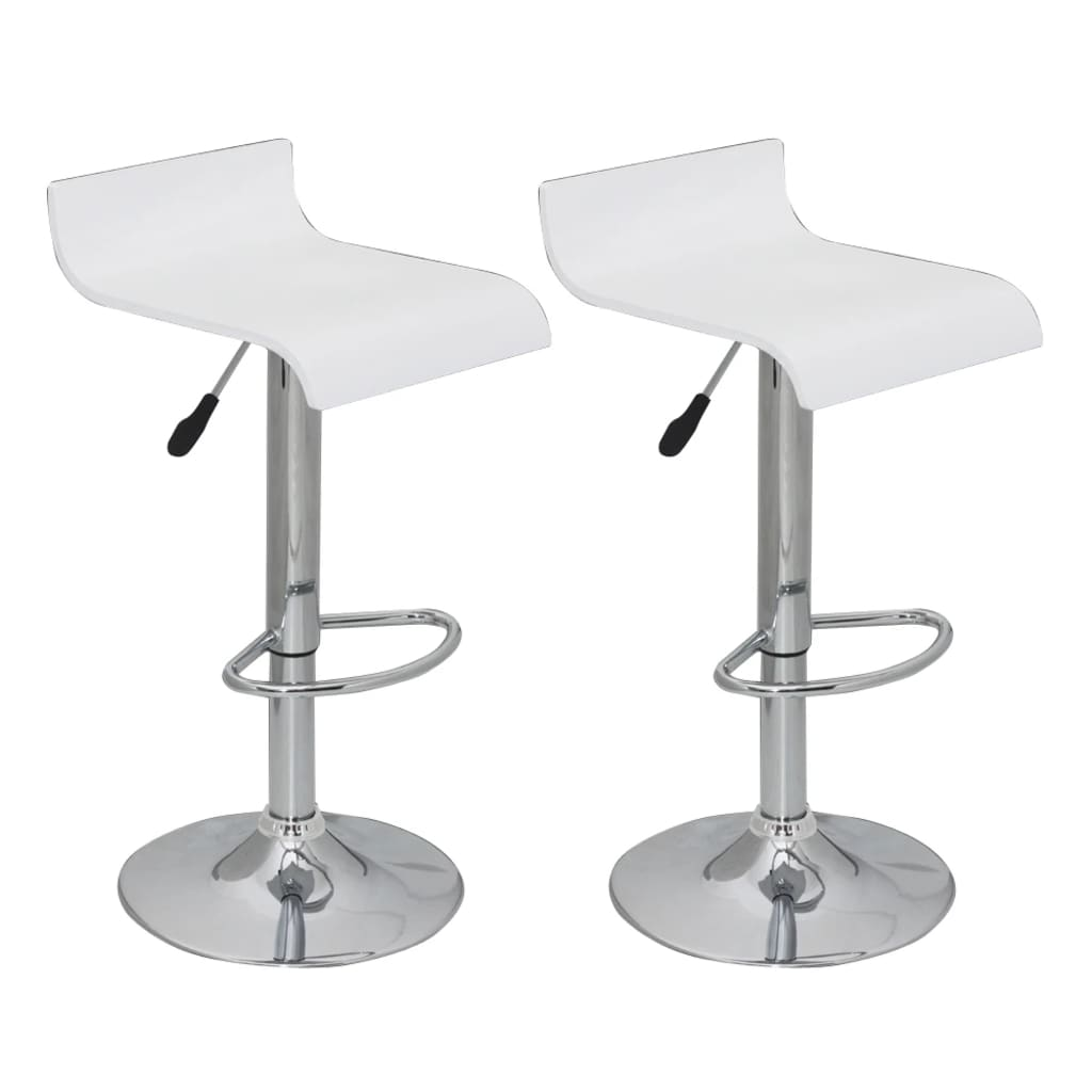 Set of 2 White Bar Stool Wooden Seat with Low Backrest  : image from www.vidaxl.com size 1024 x 1024 png 327kB