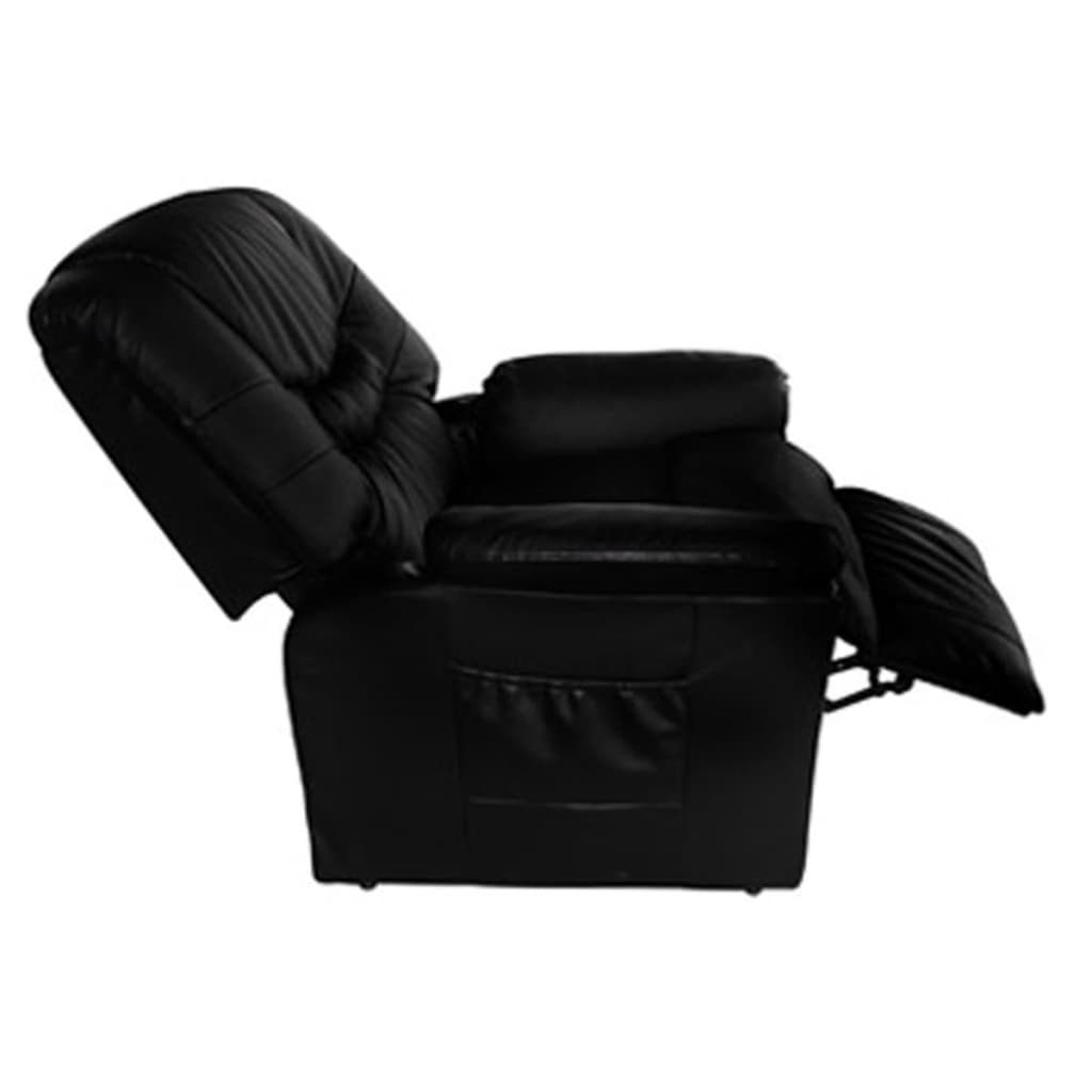 Electric tv recliner massage chair black with a footstool www vidaxl -  Electric Artificial Leather Massage Chair Black 3 5