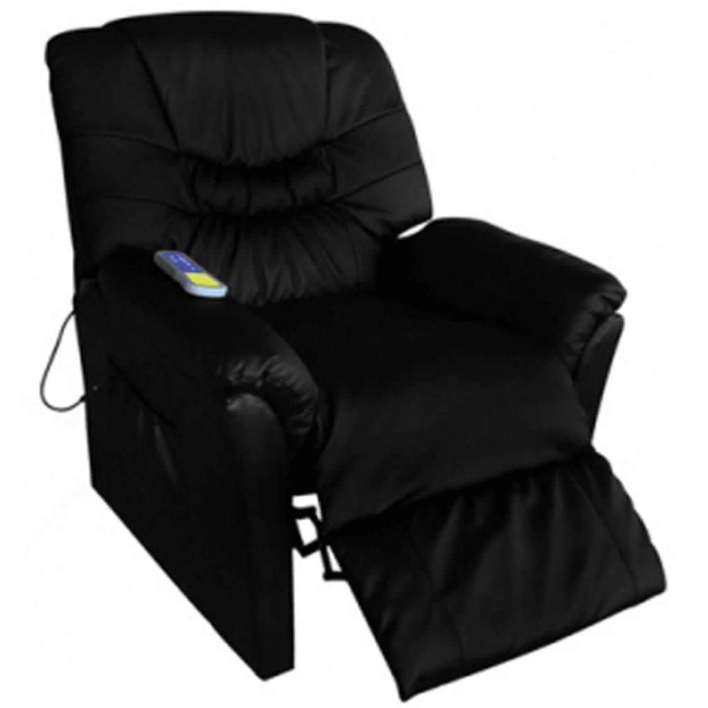 Electric tv recliner massage chair black with a footstool www vidaxl - Electric Artificial Leather Massage Chair Black