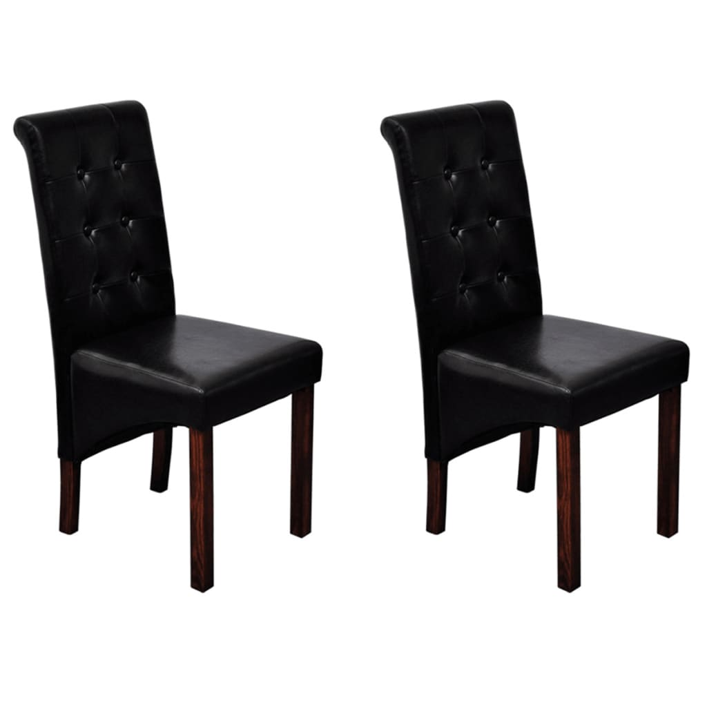 2 Scroll Back Artificial Leather Wooden Dining Chair Black