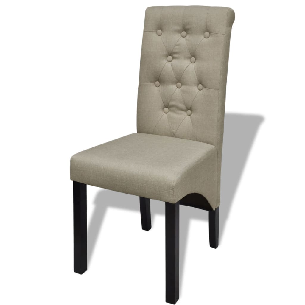 2 pcs scroll back linen coated wood dining chair beige - Chaise beige pas cher ...