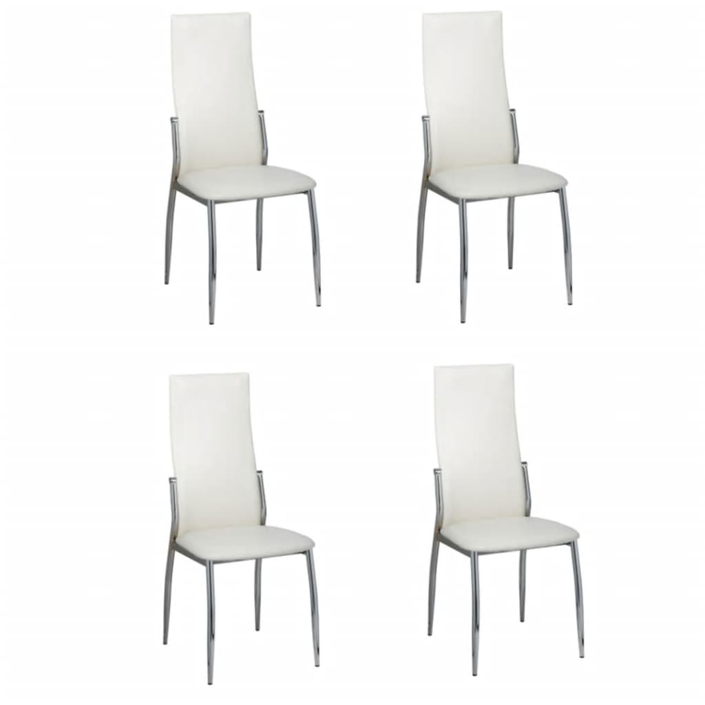 4 pcs artificial leather iron white dining chair for Chaise salle a manger simili cuir blanc