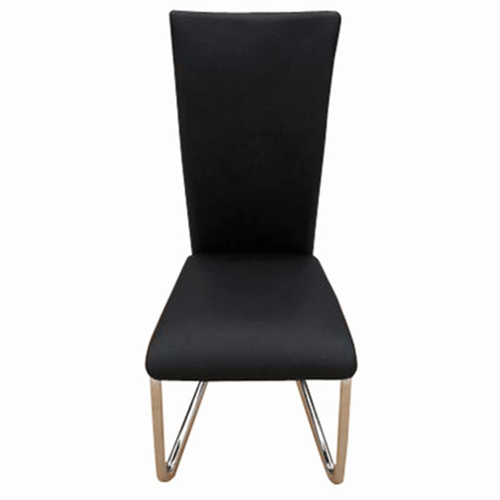 4 black artificial leather dining chairs for Black leather dining chairs