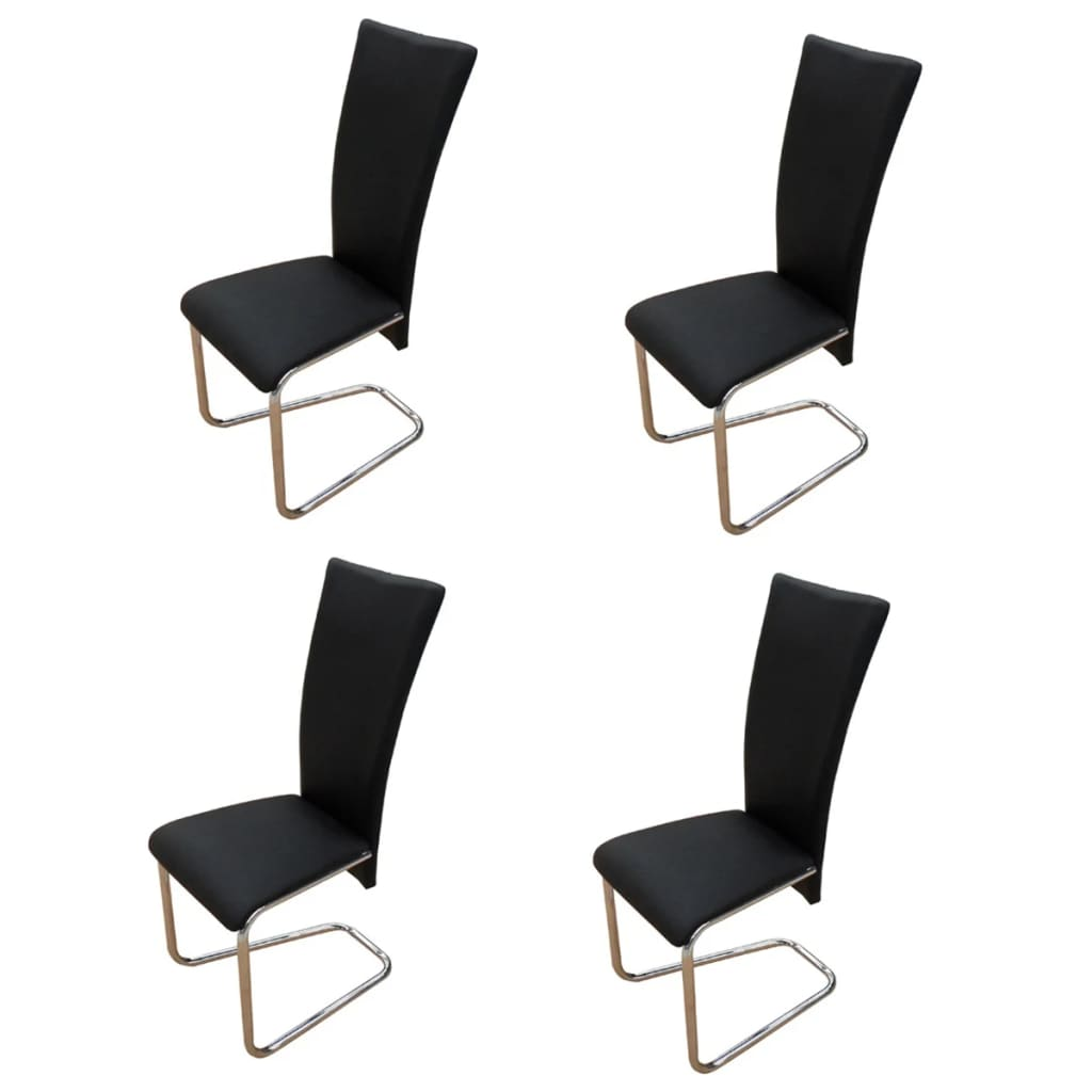 4 black artificial leather dining chairs for Black dining sets with 4 chairs