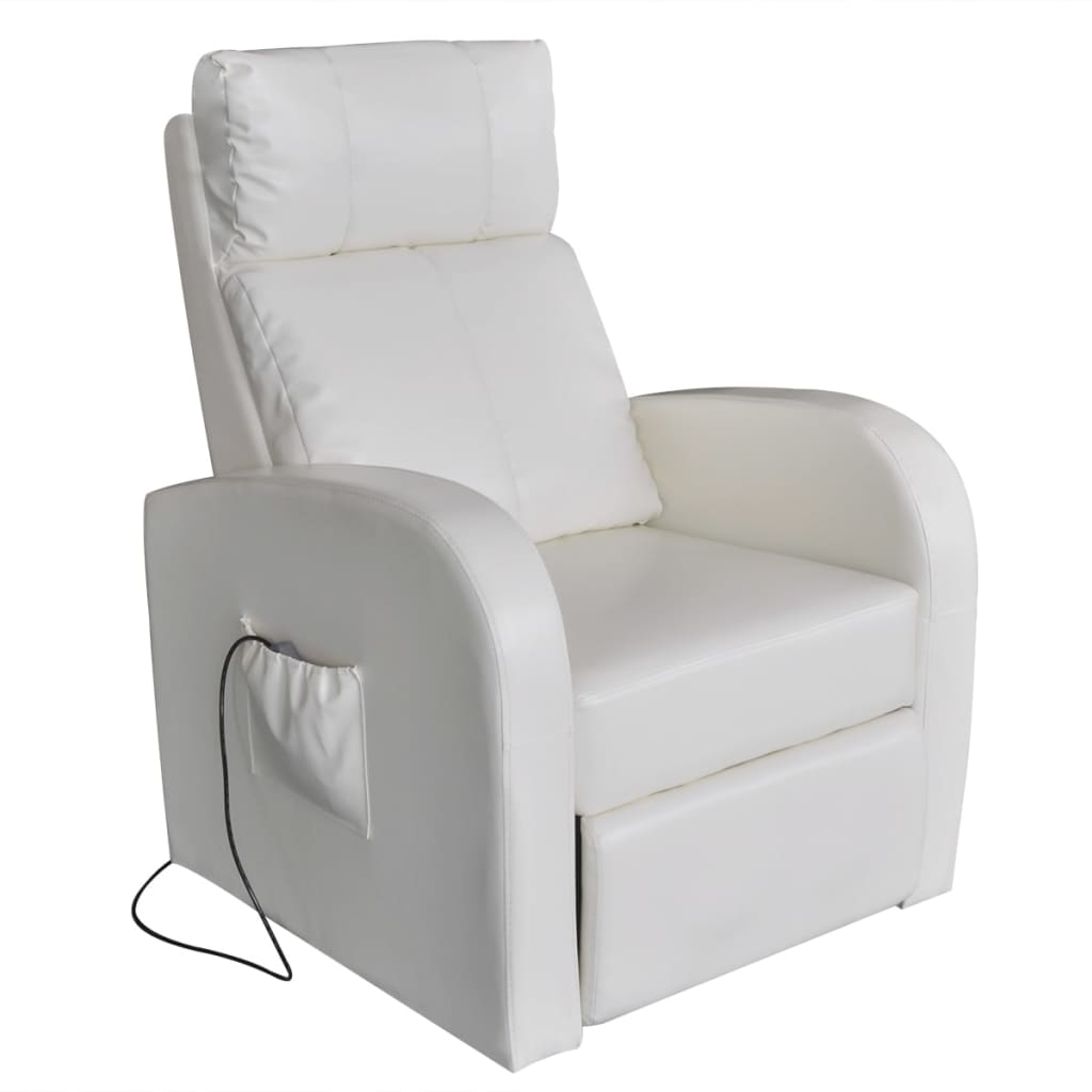 White Electric Massage Chair With Remote Control Vidaxl Com