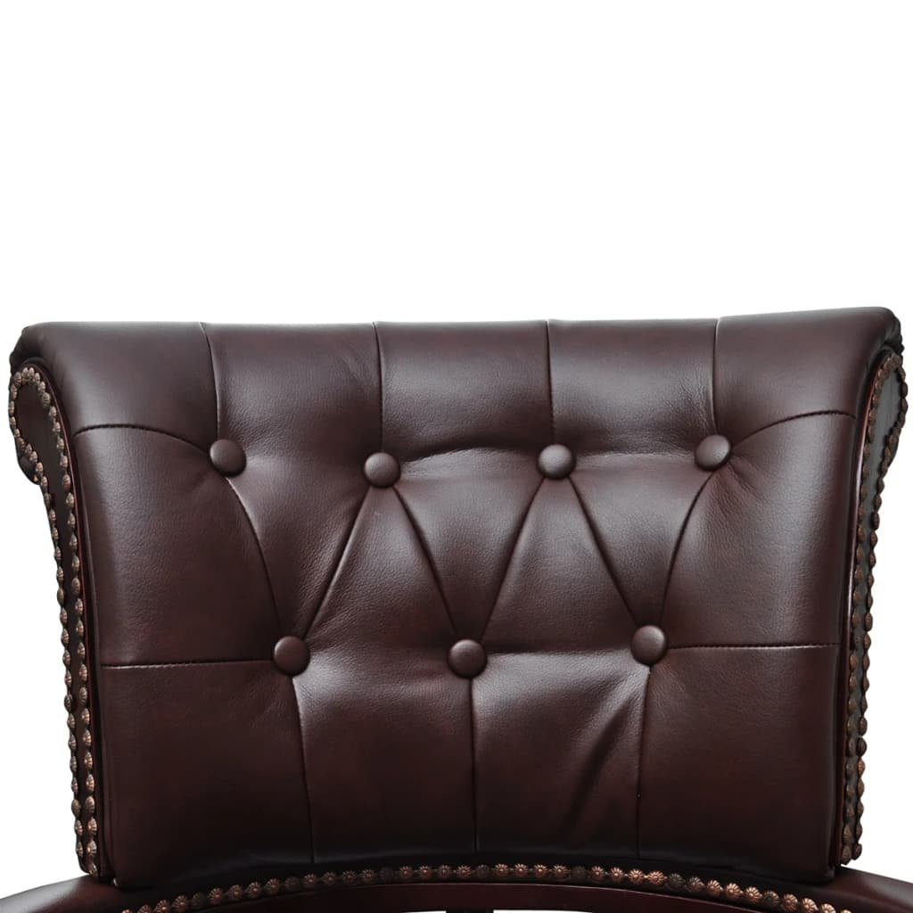 vidaXL Chesterfield Captains Swivel Office Chair Brown Real Leather Home Study 3