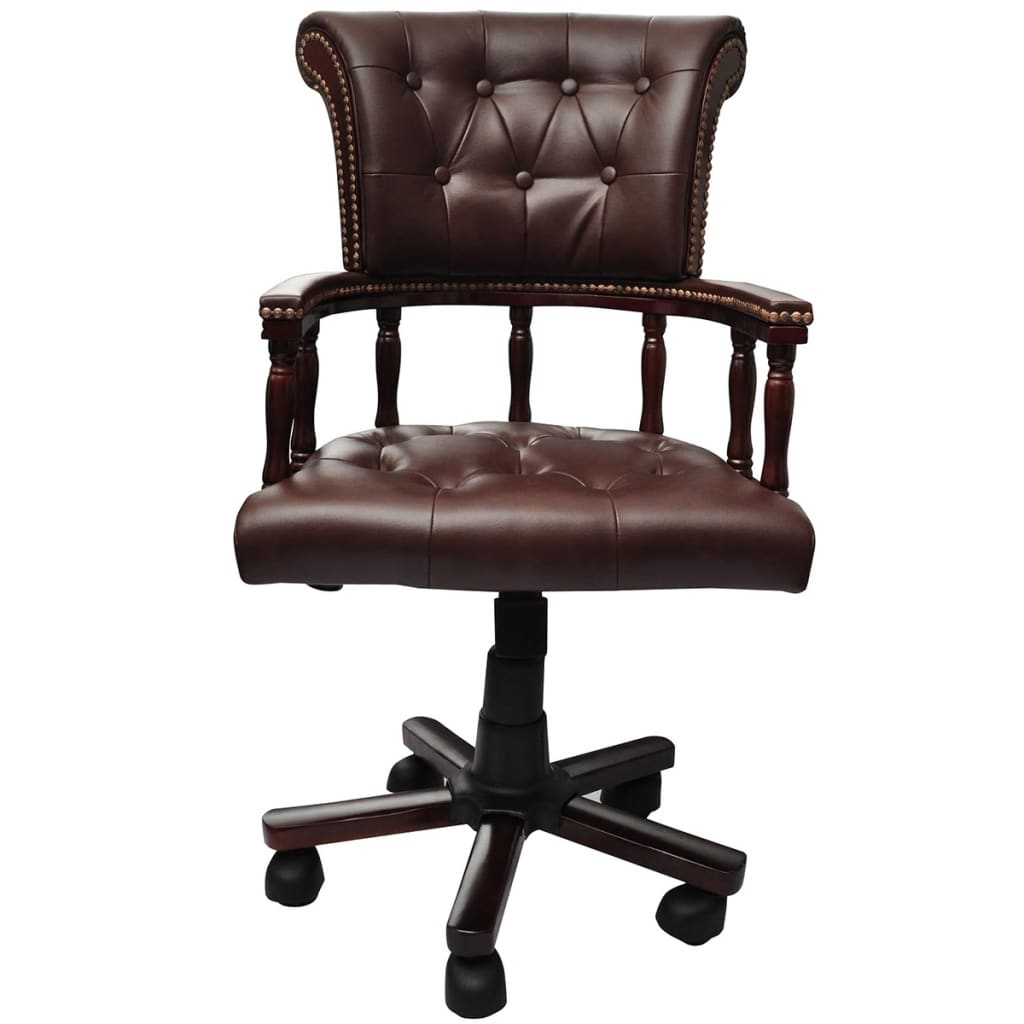 vidaXL Chesterfield Captains Swivel Office Chair Brown Real Leather Home Study 2