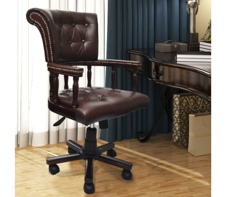 brown real leather chesterfield captains swivel office. Black Bedroom Furniture Sets. Home Design Ideas
