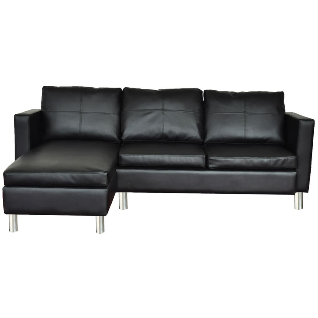 Black Luxury Real Leather Sectional Sofa 3 Seats
