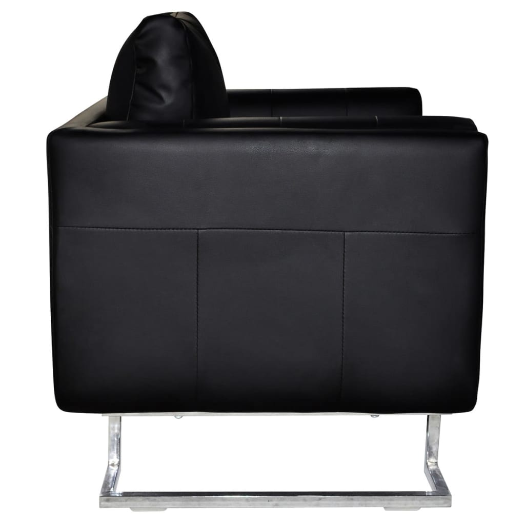 Black Luxury Cube Armchair with Chrome Feet | vidaXL.com