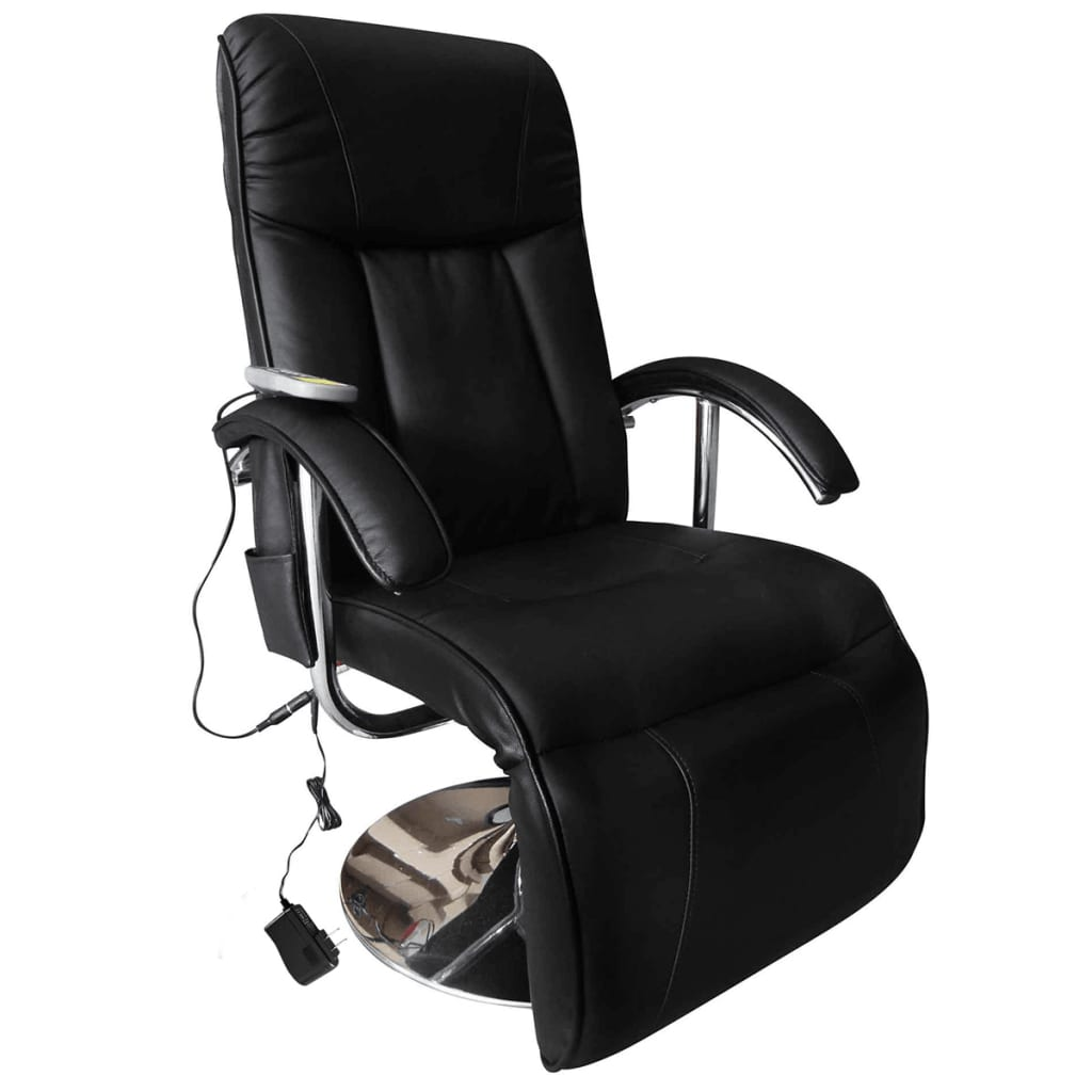 Electric tv recliner massage chair black with a footstool www vidaxl - Electric Chair Massage Black Electric Tv Recliner Massage Chair 2 7