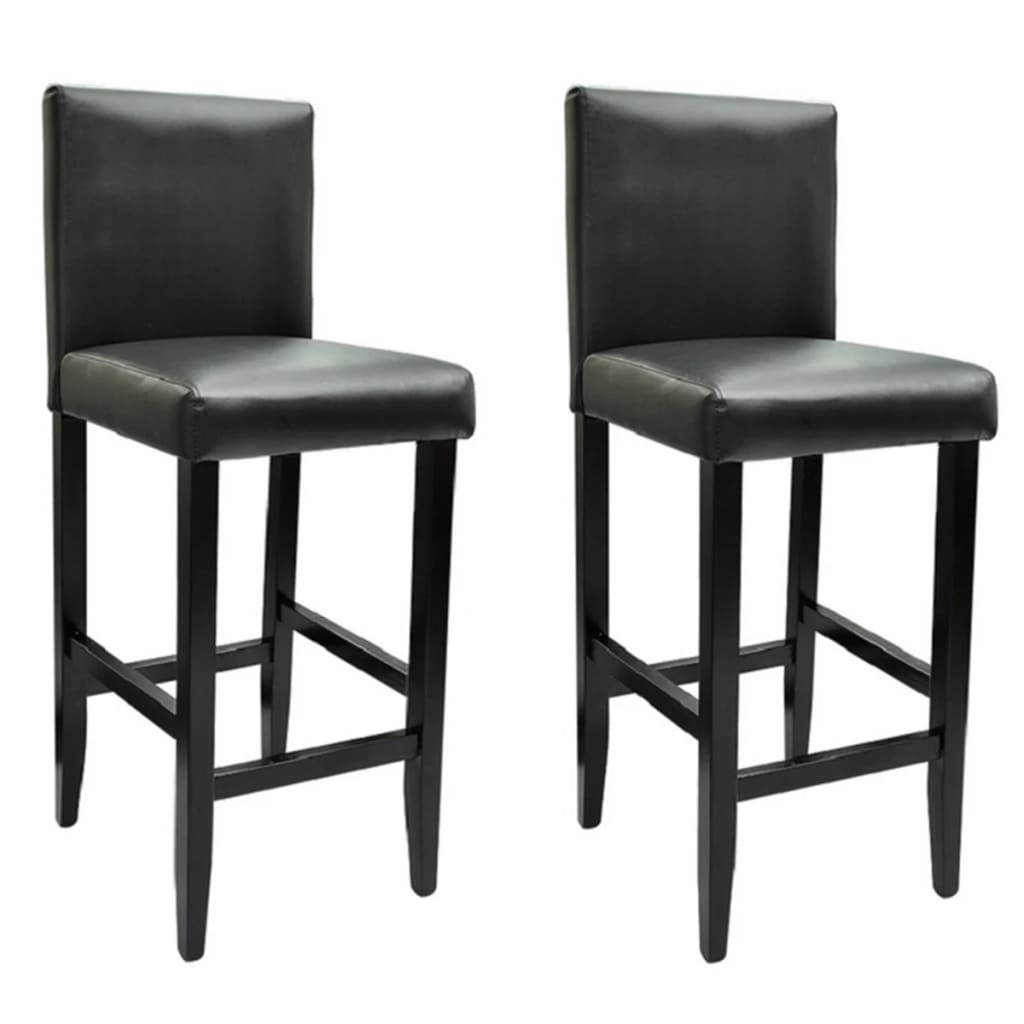 Black Bar Set: Set Of 2 Modern Black Bar Stool