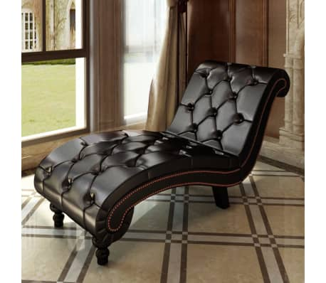 Chesterfield Brown Chaise Lounge Button Tufted