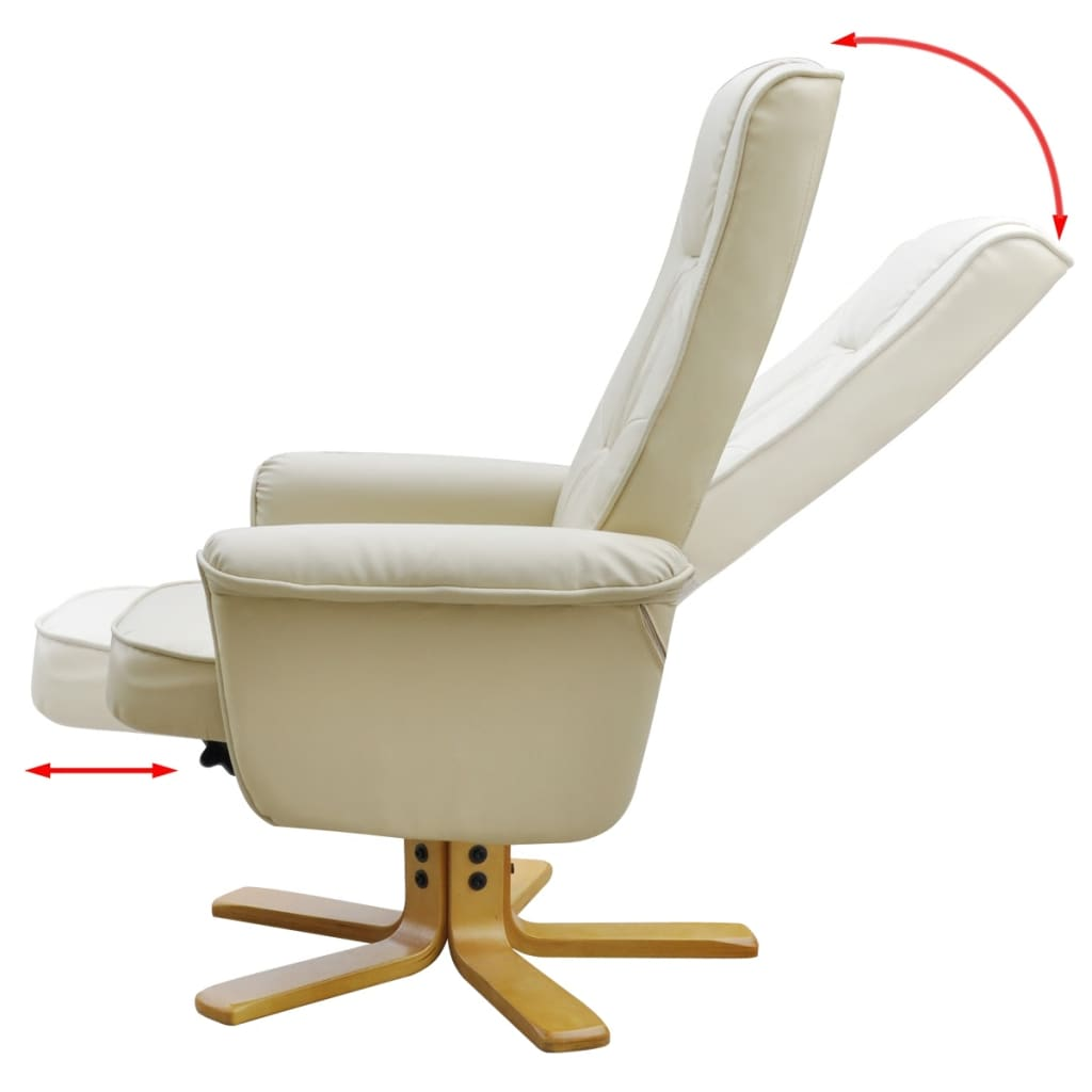 Cream white tv armchair recliner artificial leather with for Cream armchair