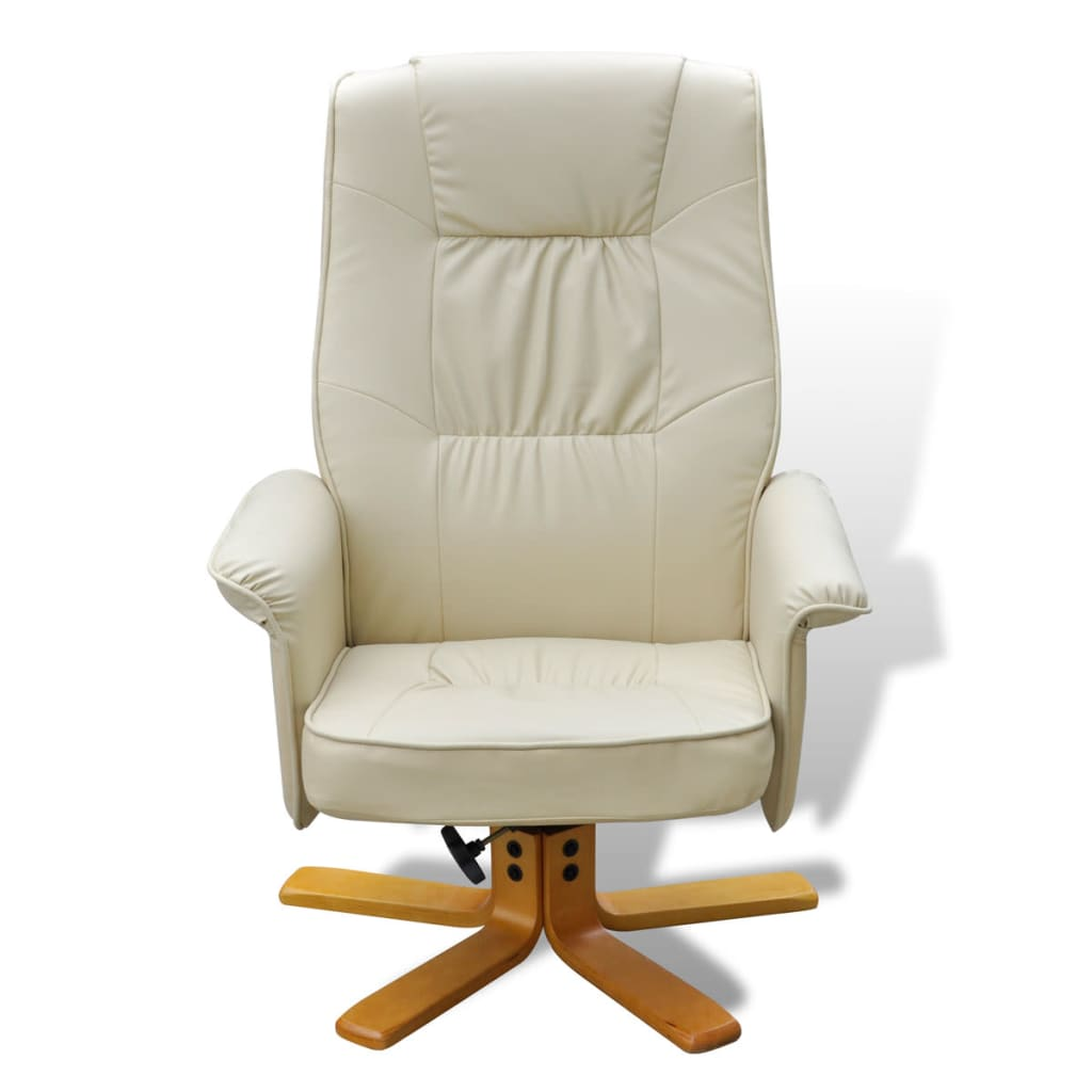 cream leather manual recliner chair