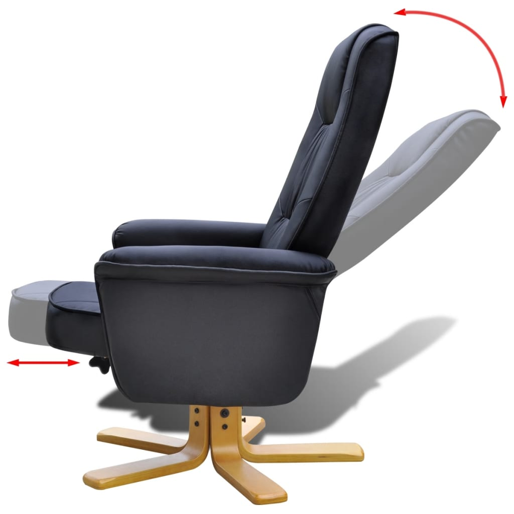 Electric tv recliner massage chair black with a footstool www vidaxl -  Black Tv Armchair Recliner Artificial Leather With Footstool 4 8
