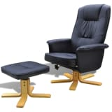 Black TV Armchair Recliner Artificial Leather with Footstool