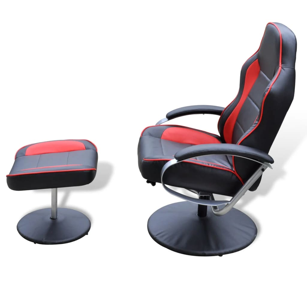 Electric tv recliner massage chair black with a footstool www vidaxl -  Black And Red Tv Armchair Recliner Artificial Leather With Footstool 3 6