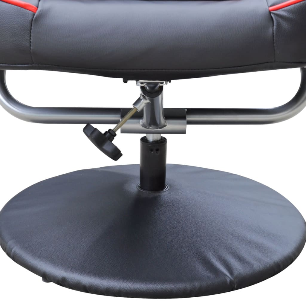 Electric tv recliner massage chair black with a footstool www vidaxl -  Black And Red Tv Armchair Recliner Artificial Leather With Footstool 6 6