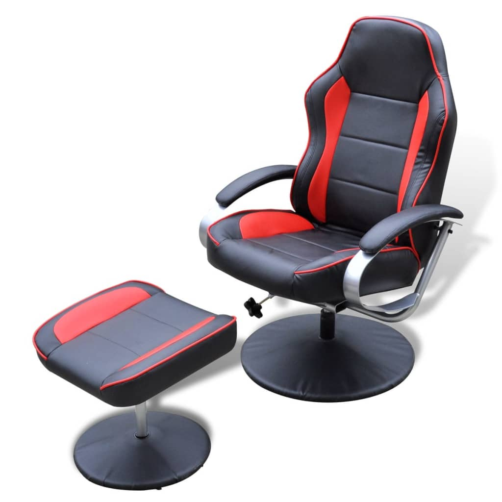 Electric tv recliner massage chair black with a footstool www vidaxl - Black And Red Tv Armchair Recliner Artificial Leather With Footstool 1 6