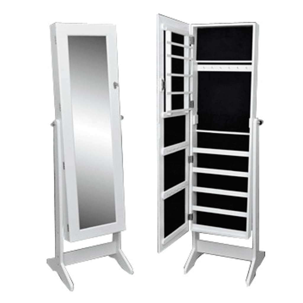 White Free Standing Jewelry Cabinet with Mirror | vidaXL.com