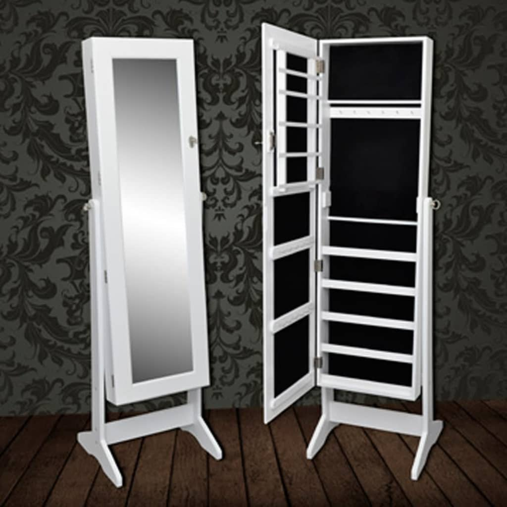 White Mirrored Jewelry Cabinet Armoire Mirror Storage Organizer