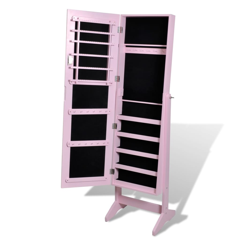 pink free standing jewelry cabinet with mirror vidaxl