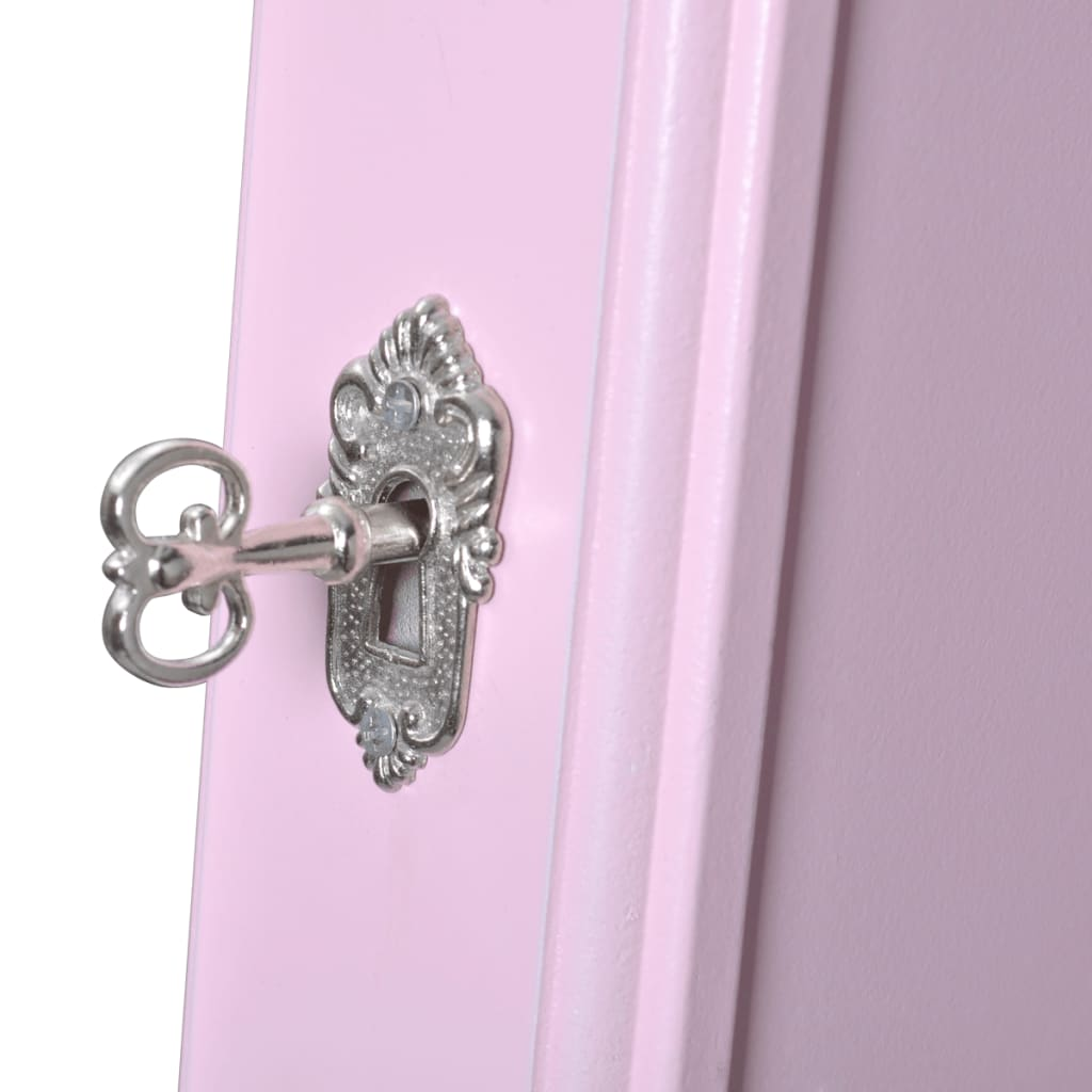 pink free standing jewelry cabinet with mirror78