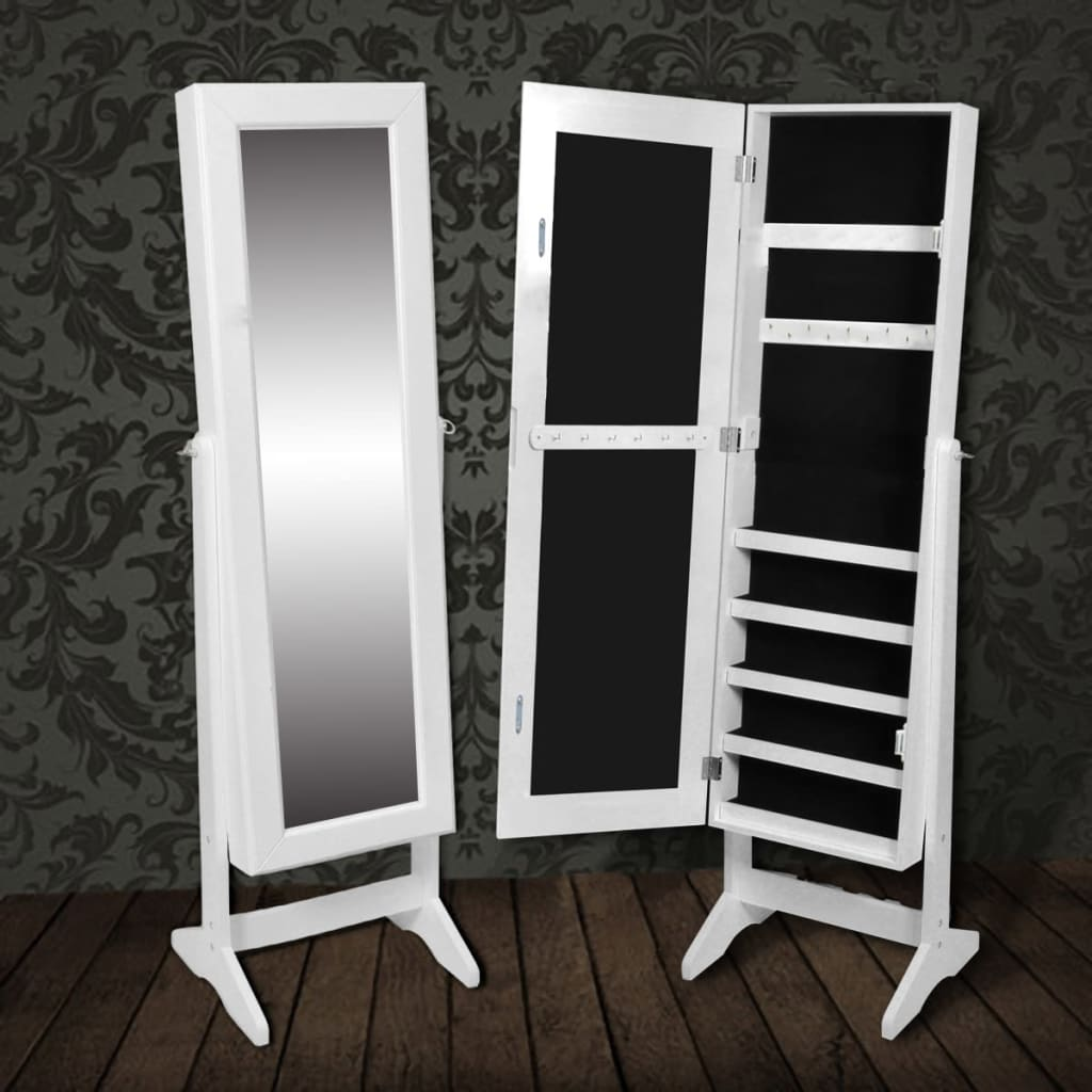 White free standing mirror jewelry cabinet for Mirror jewellery cabinet