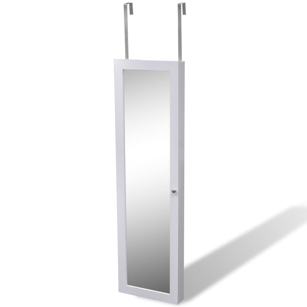 White wall jewelry wall cabinet with mirror and 2 door for Mirror hangers