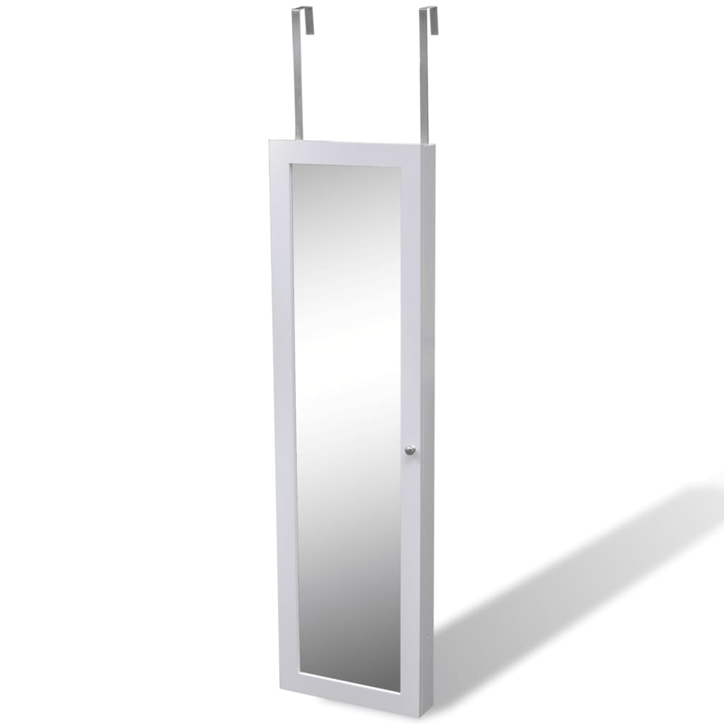 White Wall Jewelry Wall Cabinet With Mirror And 2 Door