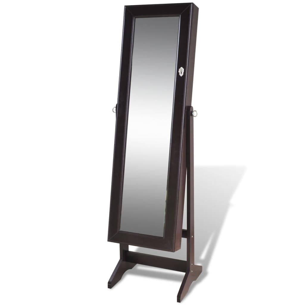 Brown free standing jewelry cabinet with mirror for Free standing