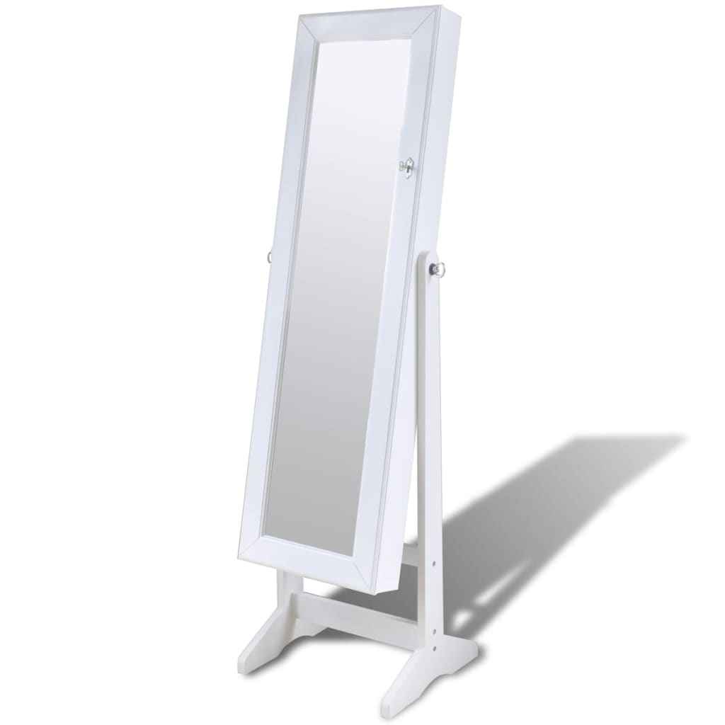White Free Standing Jewelry Cabinet With Led Light And