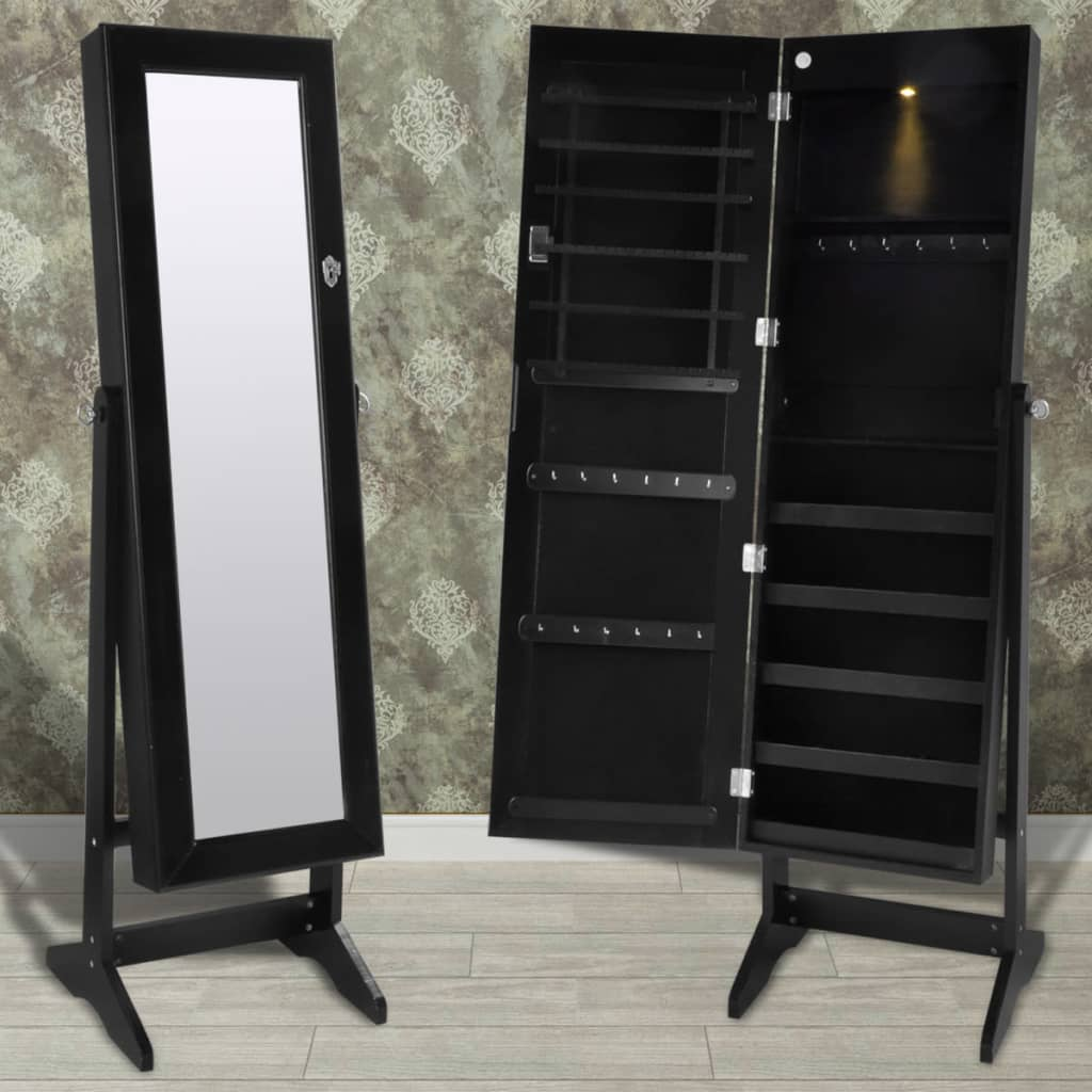 black free standing jewelry cabinet with led light and mirror. Black Bedroom Furniture Sets. Home Design Ideas