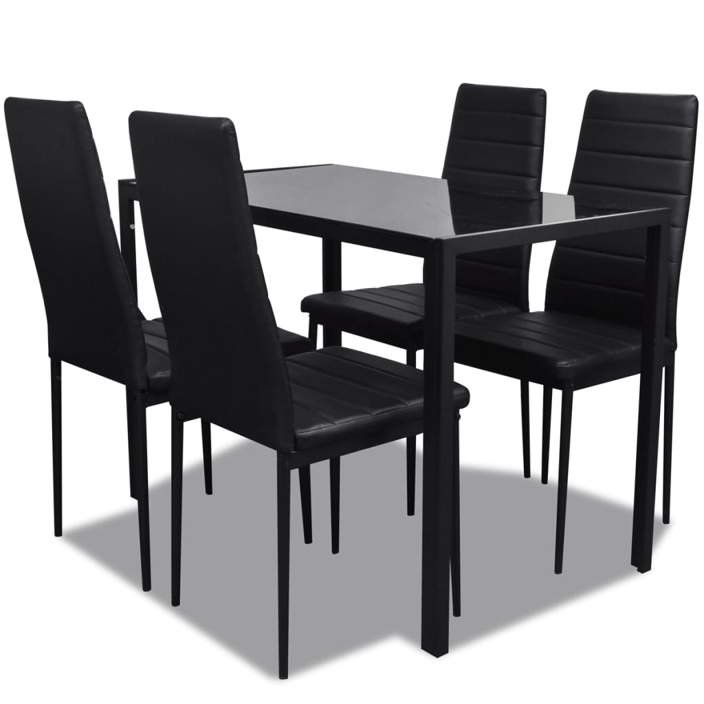 Black dining table set with 4 chairs contemporary design for Black dining table set