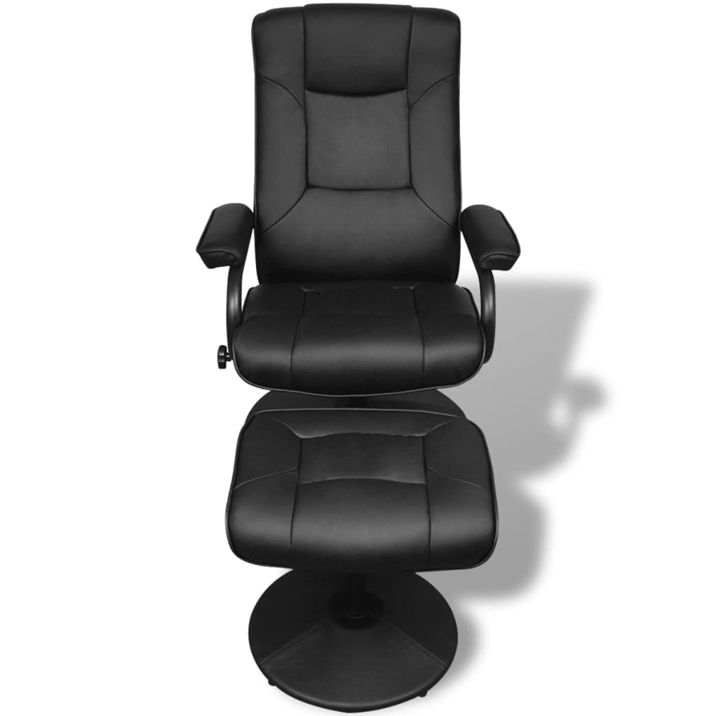 Electric tv recliner massage chair black with a footstool www vidaxl -  Black Artificial Leather Tv Armchair With Foot Stool 2 6