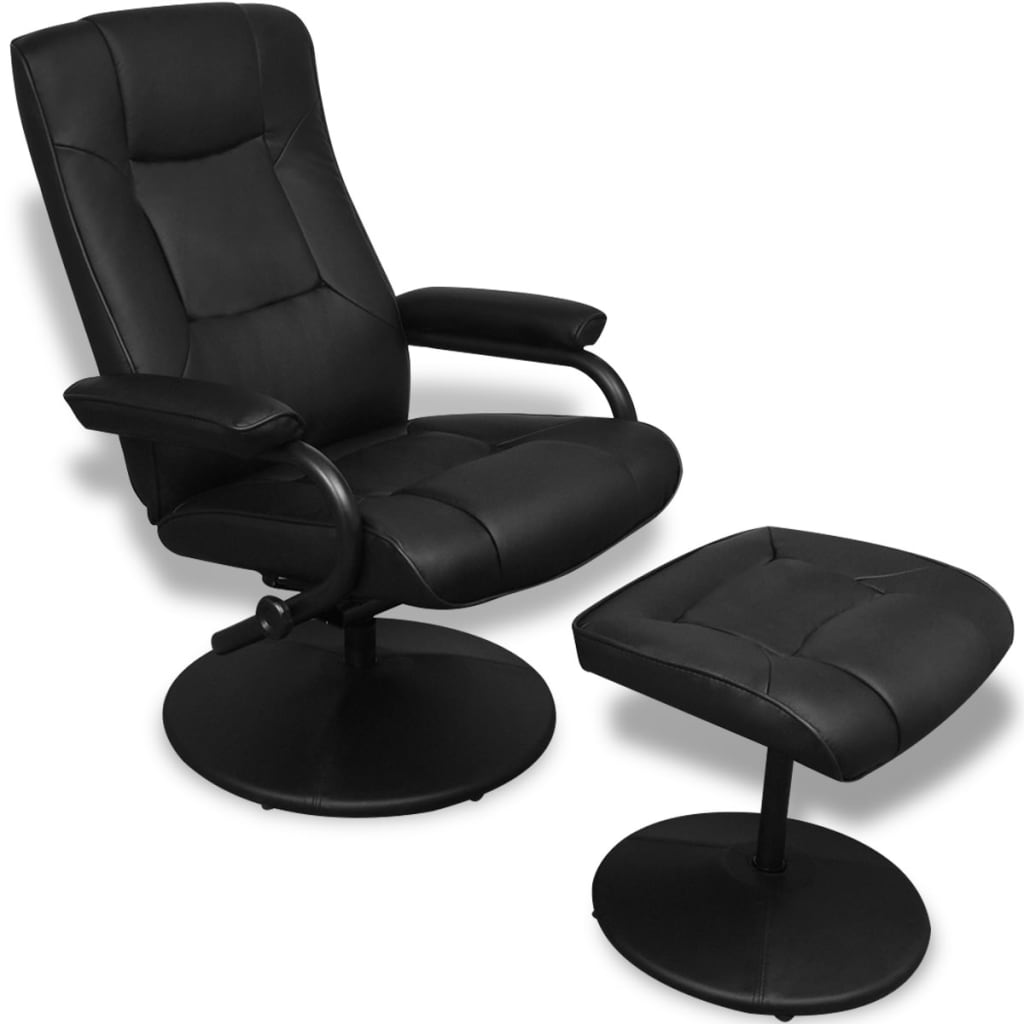 Black Artificial Leather Tv Armchair With Foot Stool