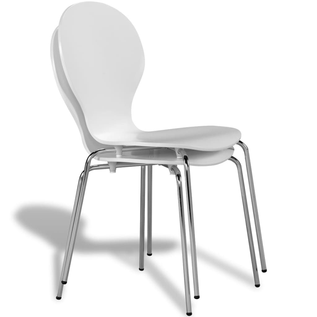 2 Stackable Butterfly Dining Chairs White