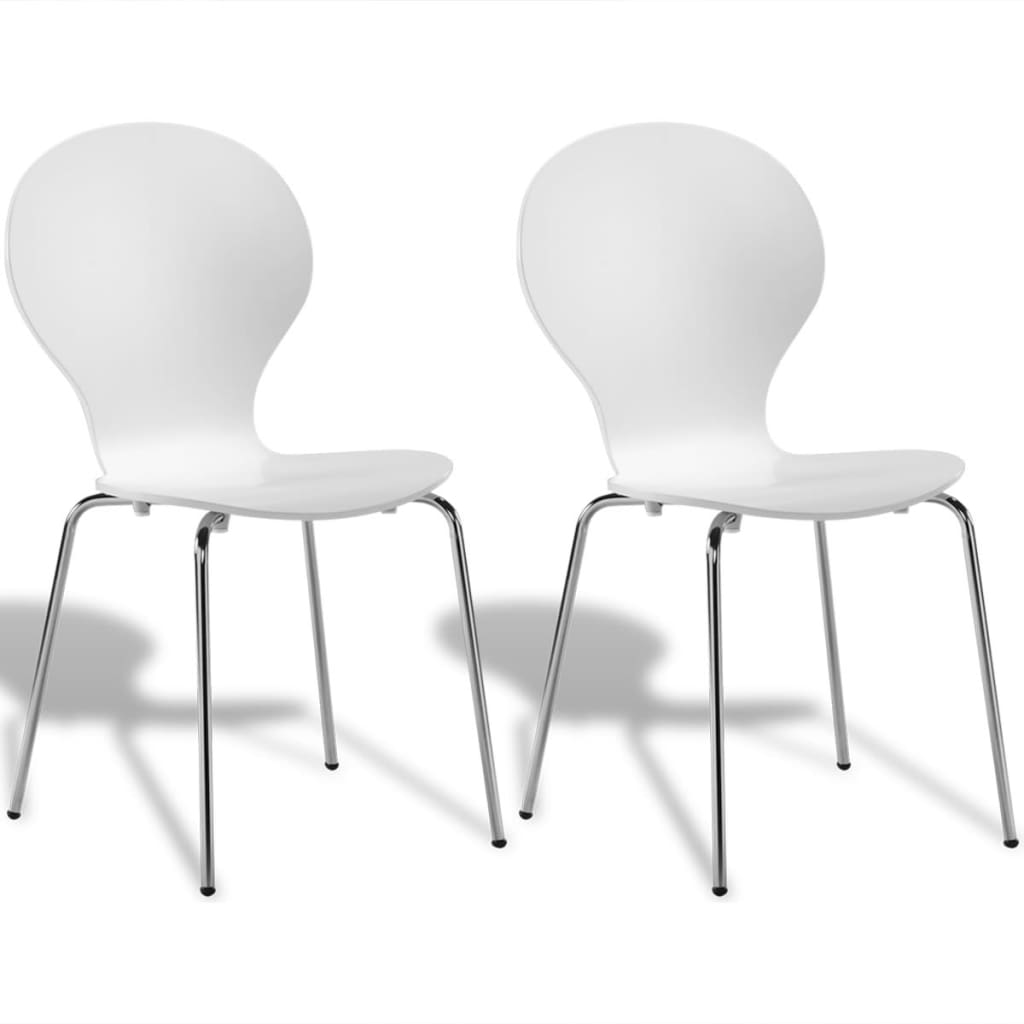 White Dining Chairs: 2 Stackable Butterfly Dining Chairs White
