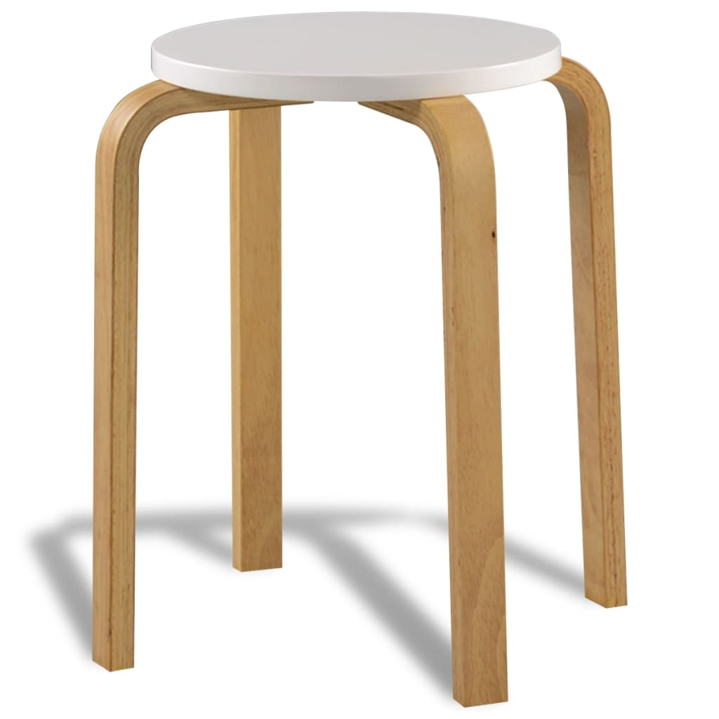 Vidaxl Co Uk 4 White Stackable Solid Bentwood Stools