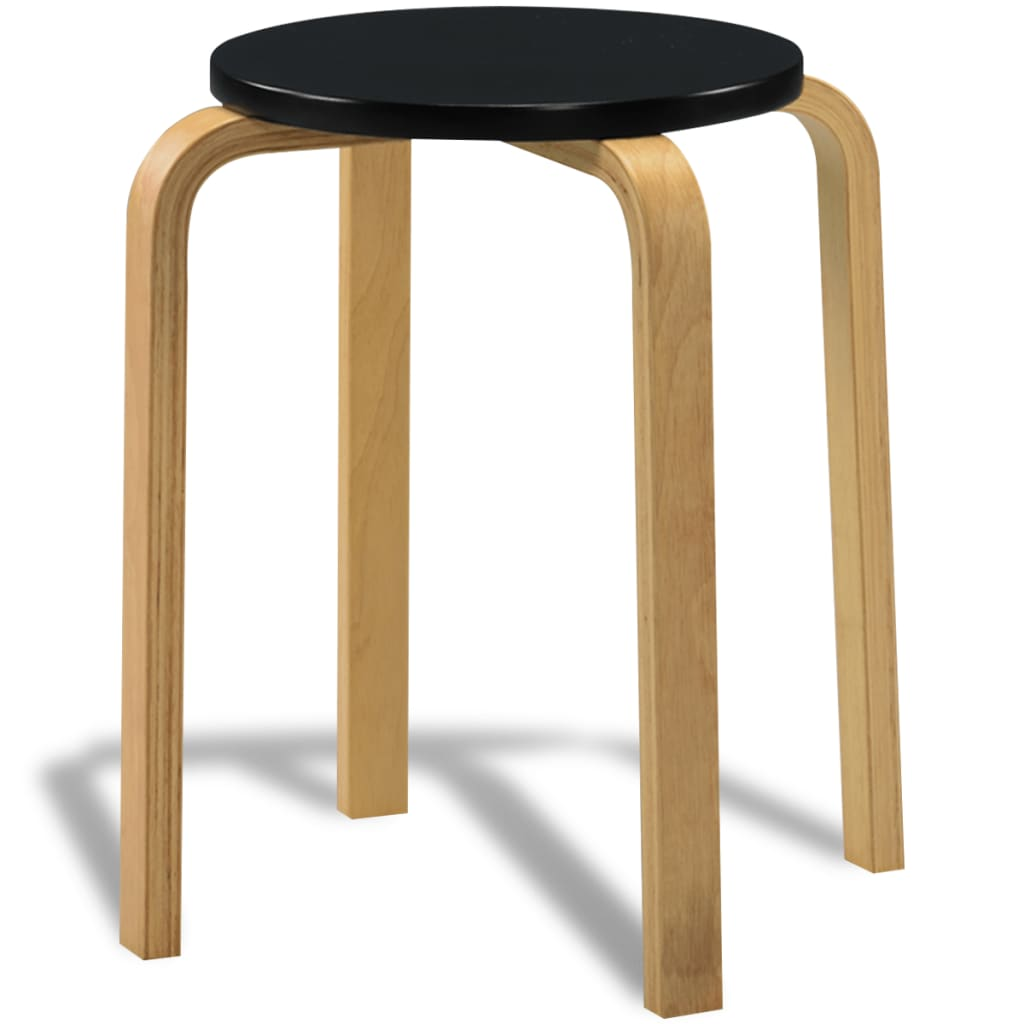 ... 4 Black Stackable Solid Bentwood Stools[6/7] ...  sc 1 st  VidaXL UK & vidaXL.co.uk | 4 Black Stackable Solid Bentwood Stools islam-shia.org