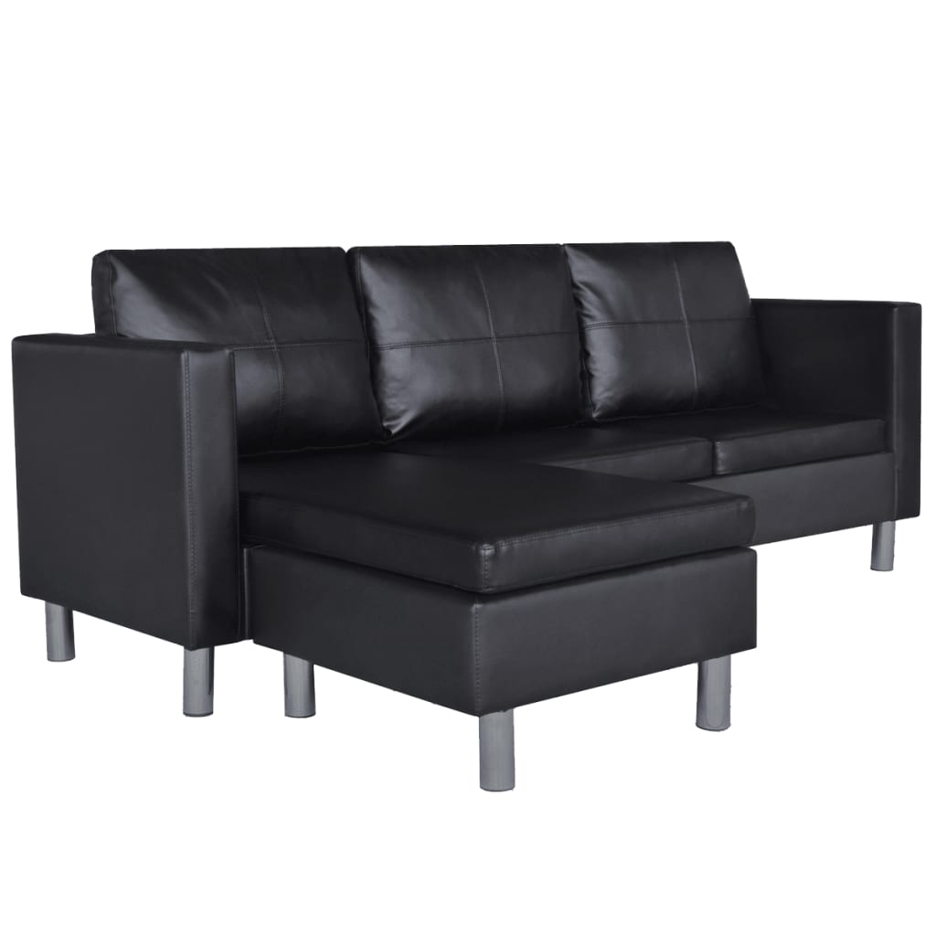 vidaxl ecksofa 3er l form kunstleder loungesofa eckcouch. Black Bedroom Furniture Sets. Home Design Ideas