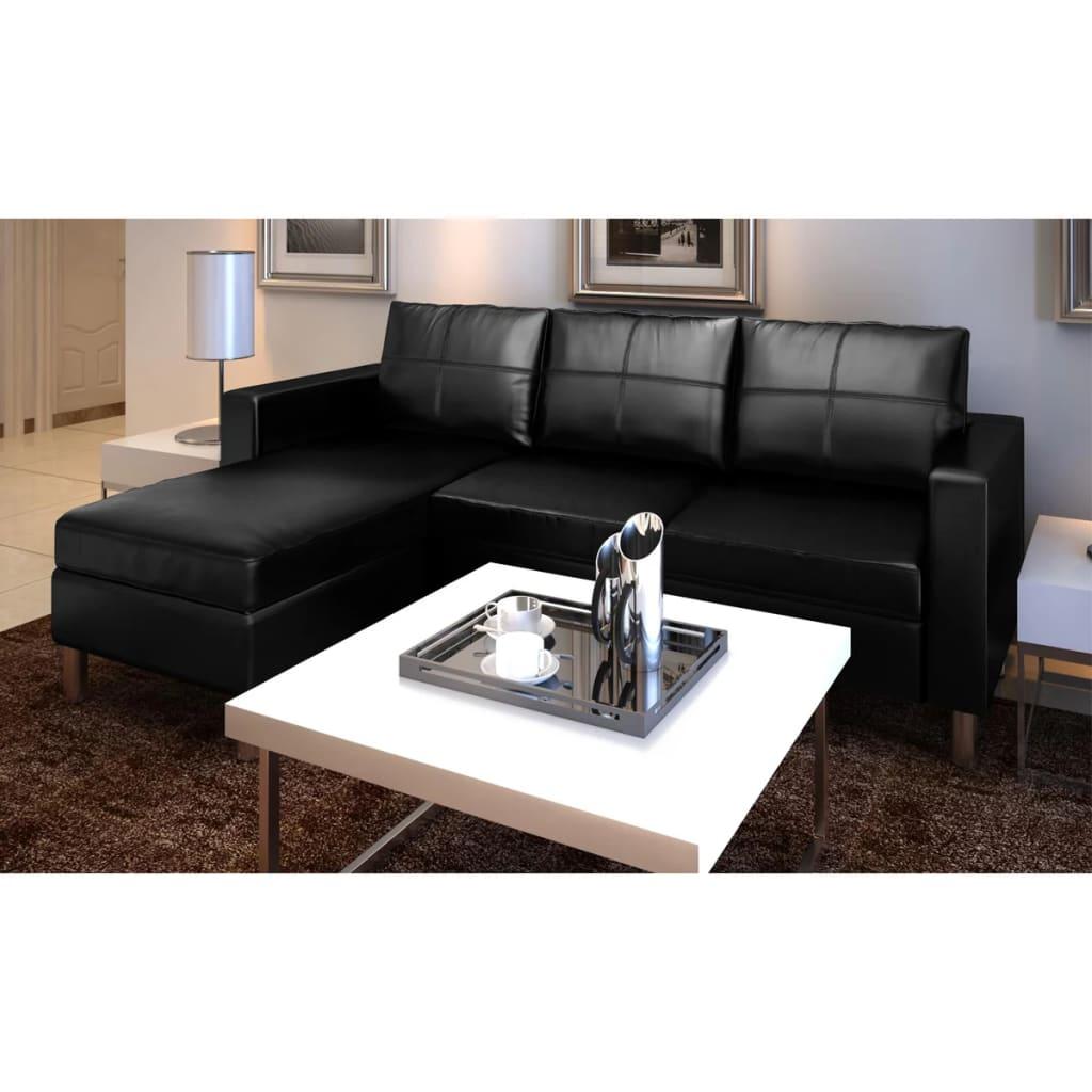 vidaXL Sofá seccional en L de cuero artificial 3 asientos, Negro ...