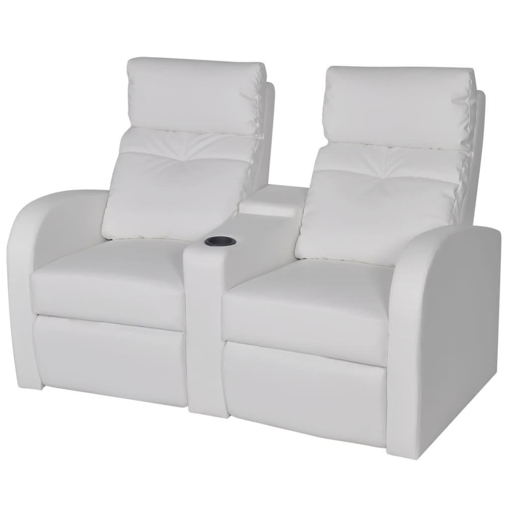 vidaXL Rozkładane fotele kinowe dla 2 osób, eko-skóra, białe