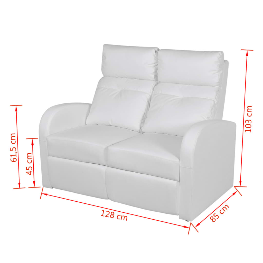 kunstleder heimkino relaxsessel sessel sofa 2 sitzer wei. Black Bedroom Furniture Sets. Home Design Ideas