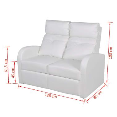 la boutique en ligne canap inclinable cin ma maison 2 si ges en cuir synth tique blanc. Black Bedroom Furniture Sets. Home Design Ideas